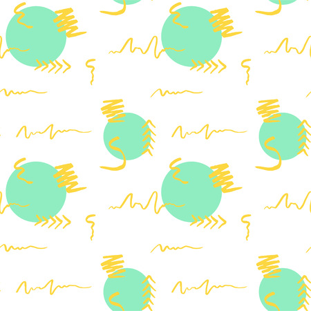 Handdrawn brush stroke and circle seamless pattern. Memphis style pattern. Abstract background. Yellow and turquoise color. Vector Illustration
