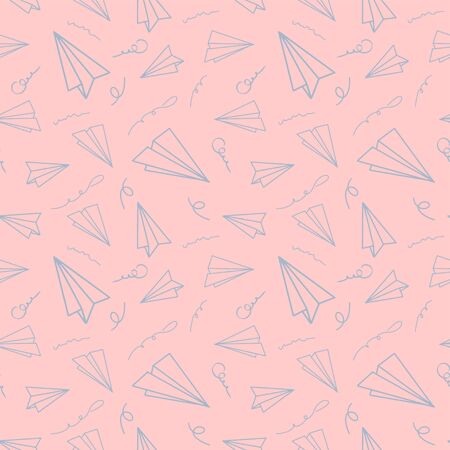 Vintage design with paper airplane seamless pattern on beige background. Vector cartoon illustration. Modern color origami wallpaper, abstract backdrop.