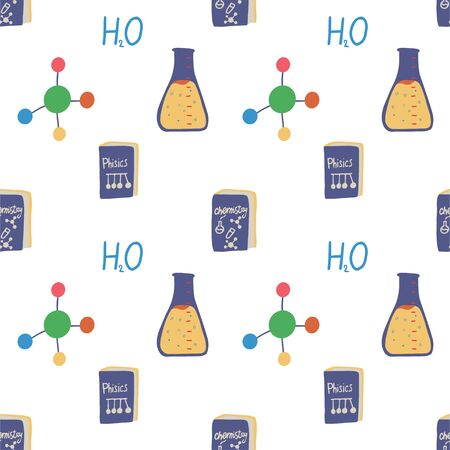Test tube and molecule seamless pattern in flat style. Medical, technology, chemistry, science background. Scientific medical research. Vector wallpaper design.