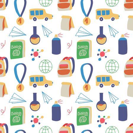 Bezszwowe ręcznie rysowane wzór z kolorowym powrotem do szkoły na białym tle. Ilustracja wektorowa edukacji.