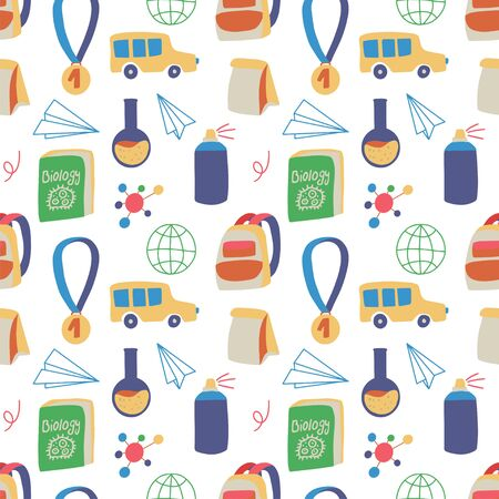 Seamless hand drawn pattern with colorful back to school on white background. Vector education illustration.