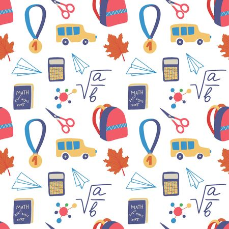 Seamless hand drawn pattern with colorful back to school on white background. Vector education illustration.  Illusztráció