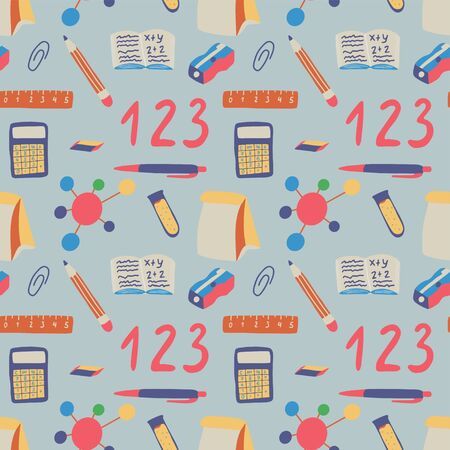 Seamless pattern back to school on blue background. Lunch, calculator, molecule, chemistry etc graphic elements. Modern wallpaper education backgdrop design. Vector hand drawn illustration.