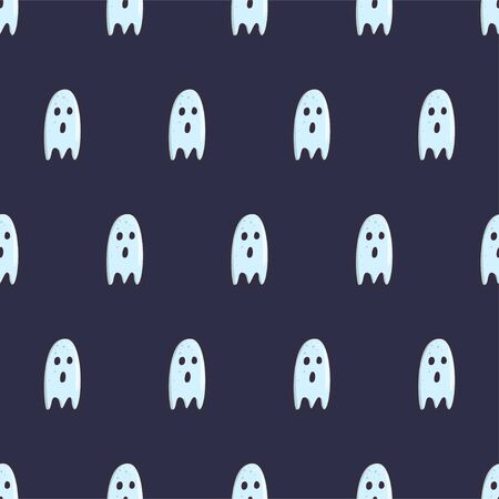 Hand drawn ghost character seamless pattern for fabric, wallpaper, wrapping paper. Halloween night celebration. Creepy spirit. Vector background design on blue backdrop. Illusztráció