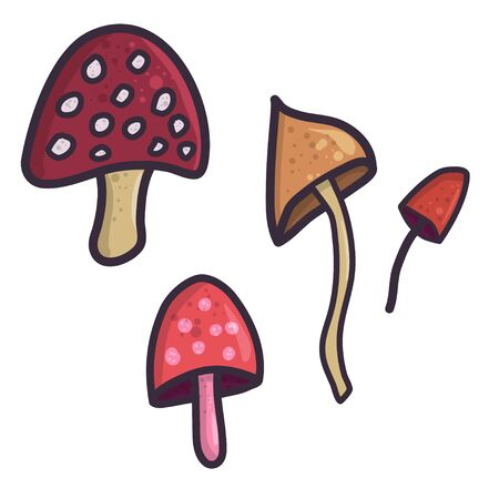 Flat illustration with mushroom, doodle style icon for decoration design. Vintage hand drawn vector set. Çizim