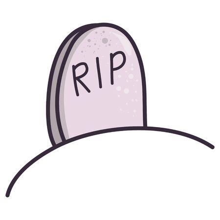 Illustrazione del fumetto con lapide di rip su priorità bassa bianca. Icona di vettore piatto. Arte spaventosa di Halloween. Cimitero della pietra tombale isolato. Vettoriali
