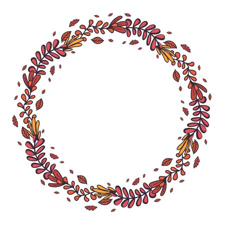 Retro hand drawn set with autumn leaf in round wreath for concept design.Vector botanical drawing. Autumn composition.