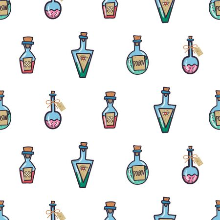 Vintage seamless pattern with set of different poison bottle for wallpaper design, fabric, wrapping paper. Halloween party. Hand drawn vector doodle chemistry.