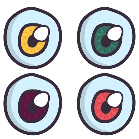 Hand drawn creepy eyeball set in cartoon style on white background. Halloween party. Spooky monster character. Eye vector icon. Çizim