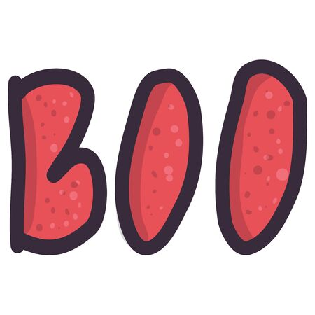 Lettering boo red illustration for print design. Typography vector halloween art.