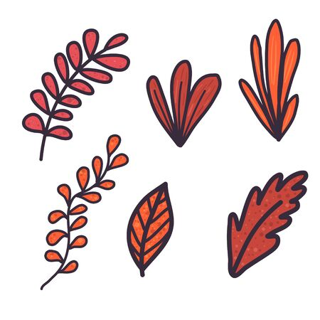 Doodle hand drawn set with orange leaf and branches on white background. Bright fall leaves. Vector design illustration. Stok Fotoğraf - 132309543