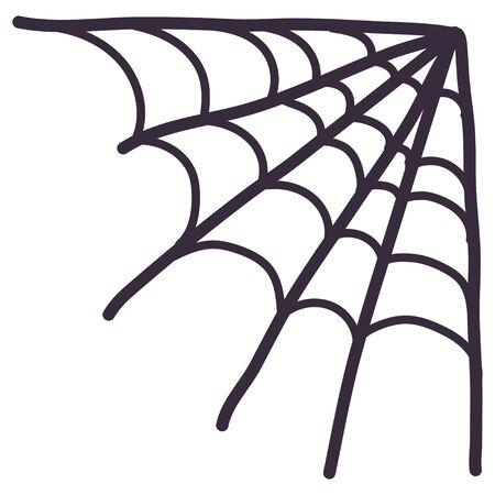Spider corner cobweb icon. Cartoon vector illustration. Halloween holiday creepy decoration elements.