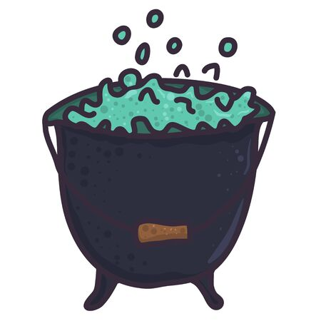Flat art with grey witch cauldron. Halloween cartoon illustration. Retro vector element.
