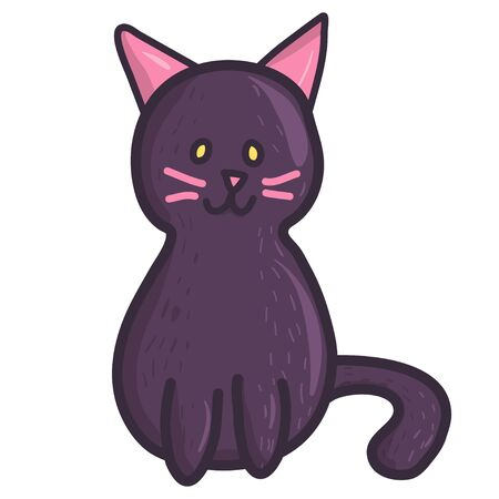 Creepy cat illustration. Vector flat spooky monster character. Holiday decoration element.