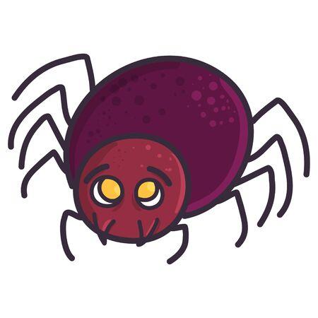 Cute spooky spider illustration. Vector halloween horror art. Happy holiday celebration.