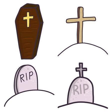 Set of gravestones and coffin. Halloween cartoon vector illustration.