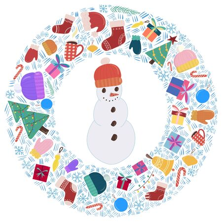 Merry Christmas and New year composition with a central subject -snowman. Traditional object - gift boxes, mitten and hat, tree, sock with ornament. Colorfull vector illustration.