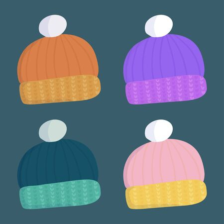 Beautiful set with warm wool winter hat for decoration design in cartoon style. Orange, violet, green and pink color. Seasonal clothes accessory. Illustration