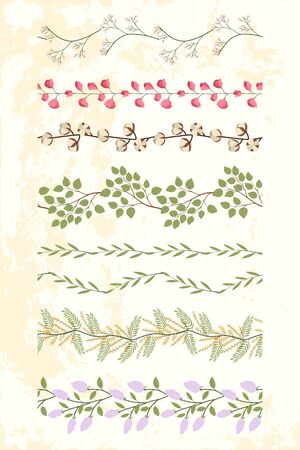 Set of floral  border with green leaf branches, pink sweet pea flowers, lilac, cotton bunch. Summer textile collection. Desig for tape, paper, fabric.