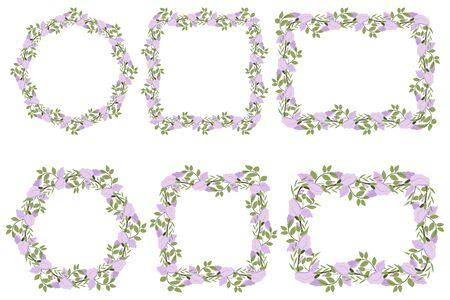 Elegant lilac flower with leaf  wreath. Floral border pattern. Vector design for invitation. 일러스트