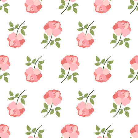 Seamless pattern with colorful pink rose flower and leaf on white background. Summer ditsy textile collection. Elegant decoration. Ilustrace