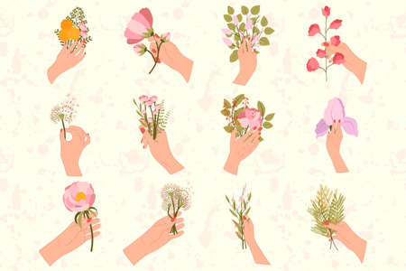 Big set of 12 hands are holding bouquets with flowers. Lilac, mimosa, sakura, dandelion, olive leaf, branch with green leaves, sweet pea, yellow bulb, peony, iris.