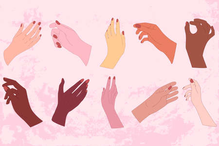 Set of young women hand. Social diversity. Simple vector style. Illustration for poster, concept, greeting card. Ilustrace