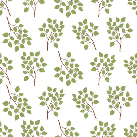 Green leaf branch seamless pattern. Trendy floral design. Repeatable wallpaper. Looped vector texture. Botanical print. Nature, ecology. Repeat leaves.