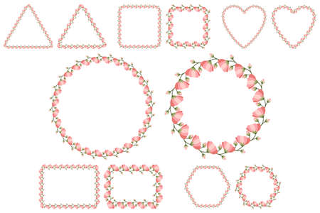 Floral frame set for celebration design with pink flowers. Romantic Vector template. Wedding invitation elements. Six shape collections - round, square, heart, rectangle, heaxagon, triangle.