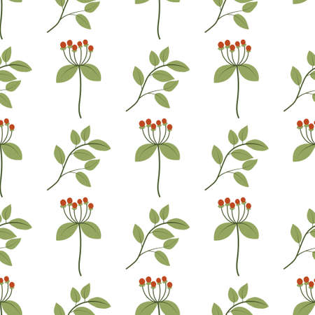 Seamless pattern with leaves and red rowan berries on white backdrop. Decorative print. Floral repeat design for textile, scrapbooking, wrapping paper. Natural background. 向量圖像
