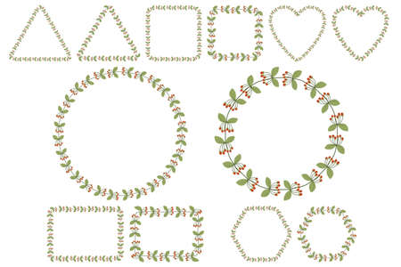 Floral frame set for celebration design with rowan berries branches with leaves. Romantic Vector template. Six shape collections - round, square, heart, rectangle, heaxagon, triangle. 向量圖像