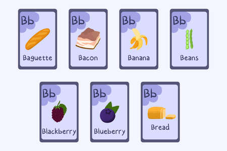 Colorful Phonics flashcard Letter B - baguette, bacon, banana, beans, blackberry, blueberry, bread. Food themed ABC cards for teaching reading with foods, vegetables, fruits and nuts. Series of ABC. Ilustração