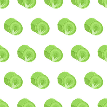 Seamless pattern with iceberg lettuce cut in half and whole vegetable. Organic food textile. Hand drawn vector nature graphic background. 向量圖像