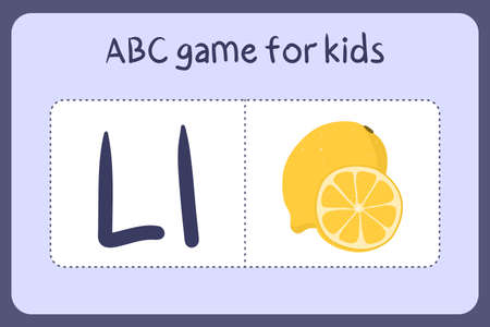 Kid alphabet mini games in cartoon style with letter L - lemon. Vector illustration for game design - cut and play. Learn abc with fruit and vegetable flash cards.