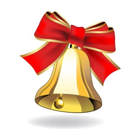 christmas day: Vector bell with ribbon