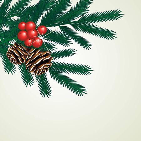 festive pine cones: Vector twig of tree Illustration