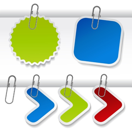 Vector advertising labels with paperclip Stock Vector - 11446790