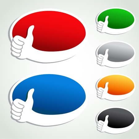announcement icon: Vector advertisement bubbles with pointer of hand