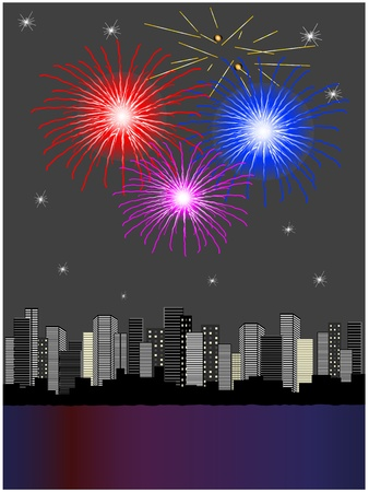 city by night: Vector fireworks above city Illustration