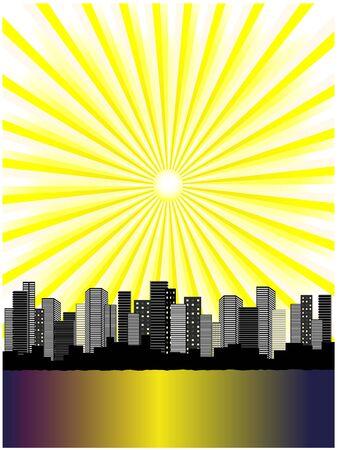 reverberation: Vector sun above city