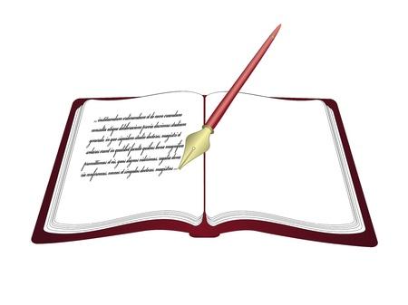 folio: Vector open book with pen