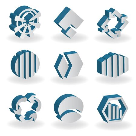 Vector set of 3D symbols Stock Vector - 11446112