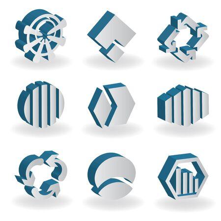 divided: Vector set of 3D symbols Illustration