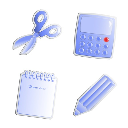 Vector stickers of office objects Vector