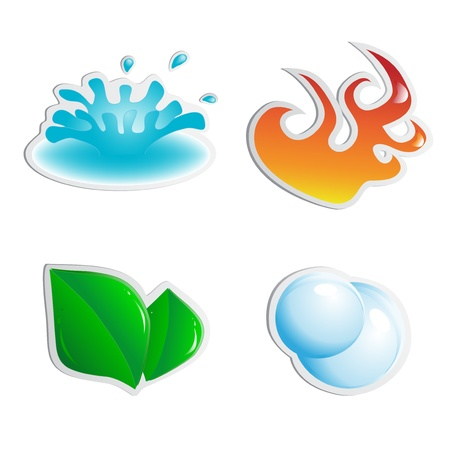 Vector stickers - water, fire, plant, air Vector