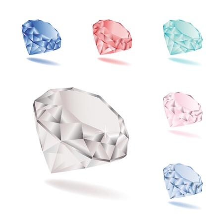 saffier: Vector set van diamanten