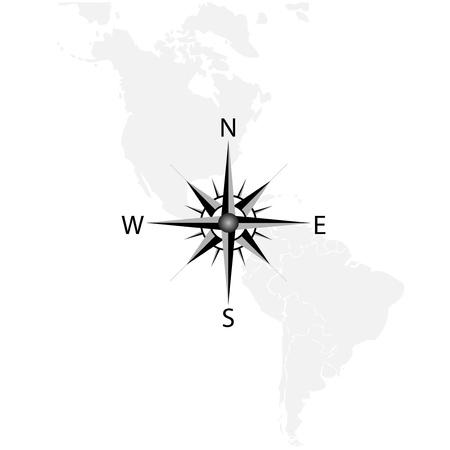 rosa dei venti: Vector bussola sulla mappa di America Vettoriali