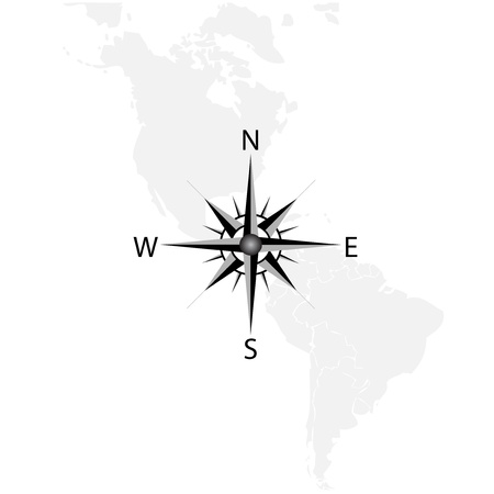 Vector compass on the map of America Vector