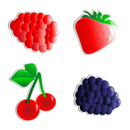 Vector fruits stickers Stock Vector - 11446177