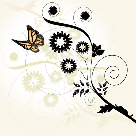 Vector floral background with butterfly Stock Vector - 11446096